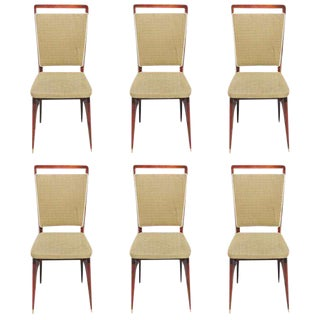 Vintage French Art Deco Rosewood Dining Chairs - Set of 6 Circa 1940s