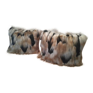 Black & Tan Faux Fur Pillows - A Pair