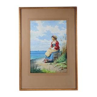 Achille De Dominicis -Woman by the Shore-Painting