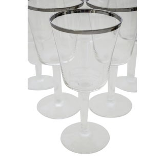 Mid-Century Platinum Rimmed Glasses - Set of 6