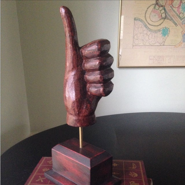 Image of Mid-Century Style Wood Hand Sculpture