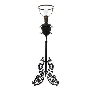 Black Wrought Iron and Brass Piano Lamp, Telescopic