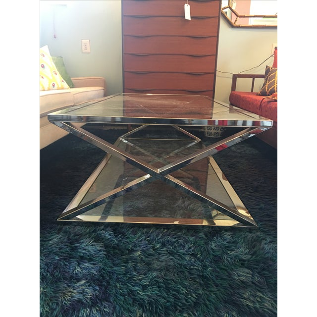 Vintage Milo Baughman Style Chrome Coffee Table - Image 4 of 5