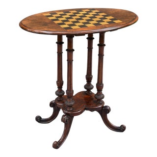 Antique English Burr Walnut Games Table