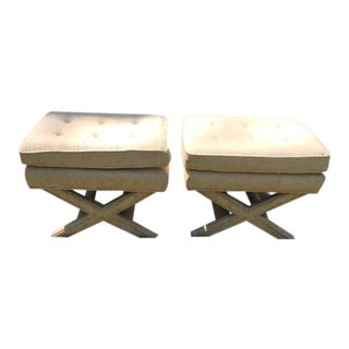 Vintage Billy Baldwin Style X Benches - A Pair