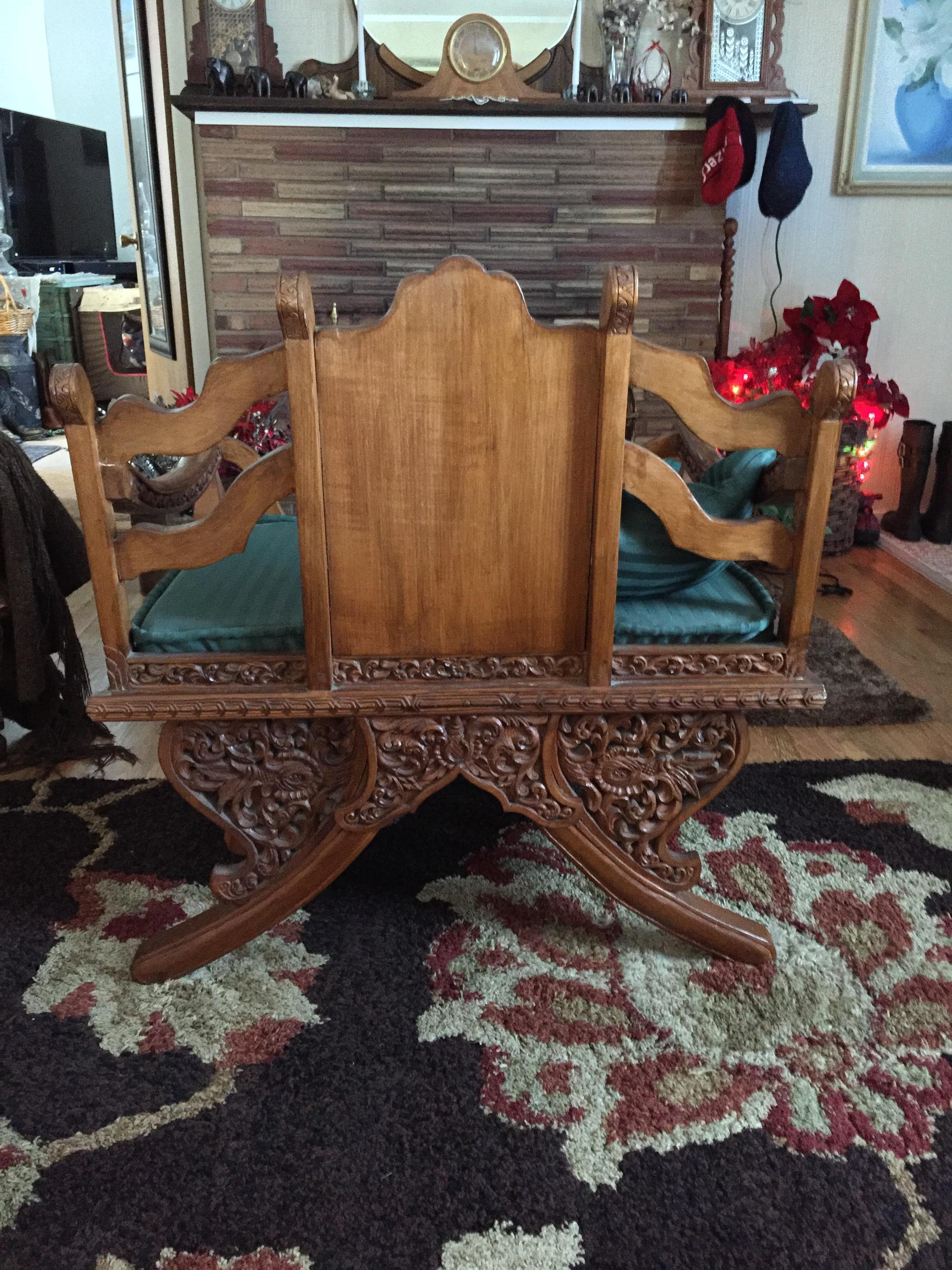 Antique Thai Hand Carved Teak Buddha Howdah Elephant Saddle Chair   Image 4  Of 6