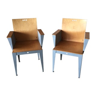 Wood & Steel 1980s Italian Memphis Chairs - A Pair