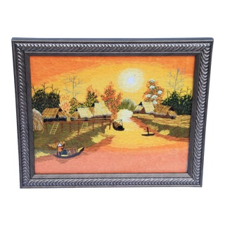 Vintage Crewel Work Asian Village Scene