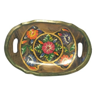 Wooden Tray With Floral Motif
