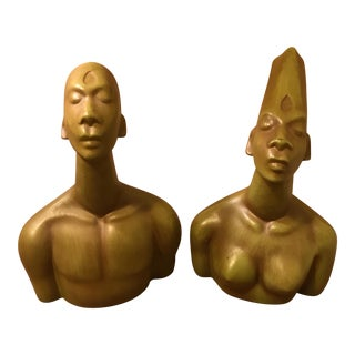 Mid-Century African Female & Male Statue Busts - A Pair