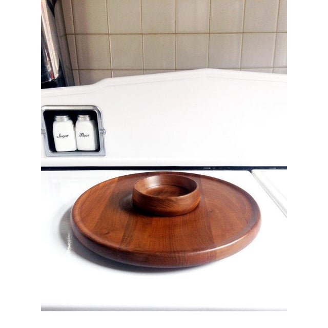 Mid-Century Walnut Lazy Susan Dip Tray - Image 2 of 6