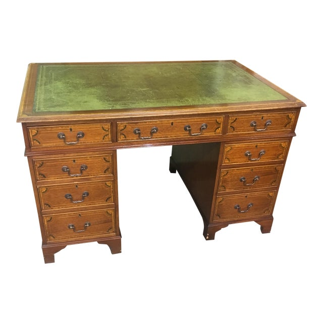 Antique Inlaid Leather Top Desk