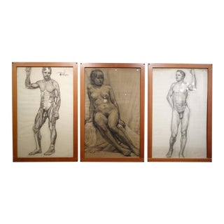 Nude Study Pencil Sketches - Set of 3