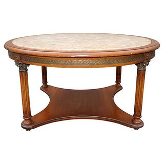 Vintage Neoclassic Detailed Marble Top Coffee Table