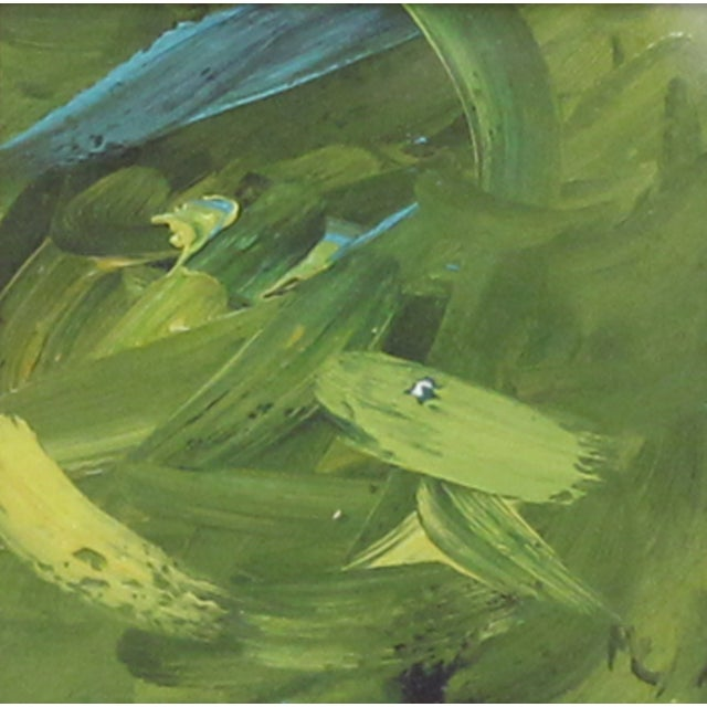 Green & Turquoise Abstract Oil in a Goldtone Frame - Image 2 of 3