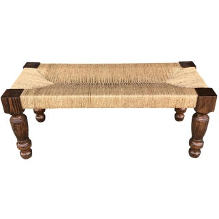 Woven Lampakanay Rope & Wood Bench