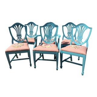 Vintage Painted Needlepoint Shield Back Dining Chairs - Set of 6
