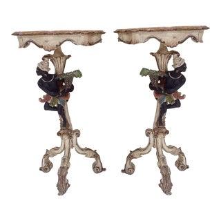 19th Century Venetian Blackamoor Tables - Pair