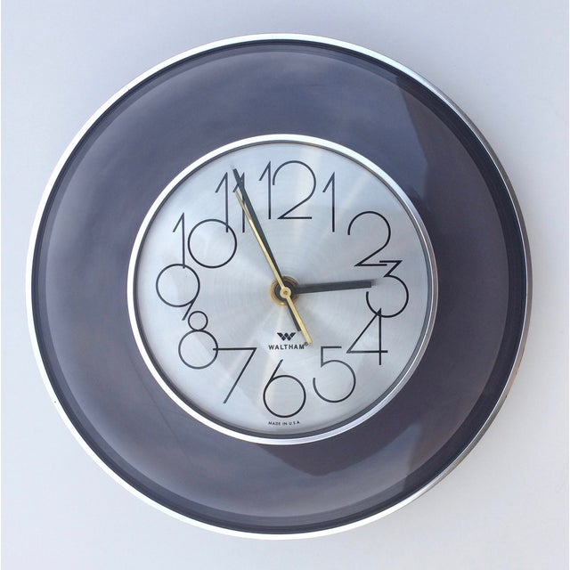 Image of Vintage 1970's Smoked Lucite Wall Clock