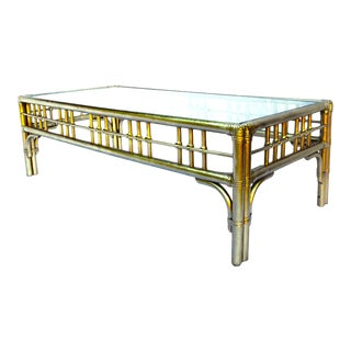Ficks Reed Gold Mid-Century Rattan & Bamboo Coffee Table