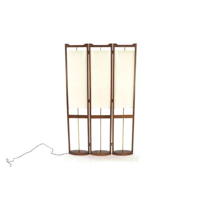 Three Panel Walnut Folding Lamp Room Divider - Image 3 of 7