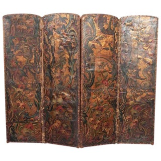 18th Century Embossed, Painted and Gilded Leather Screen
