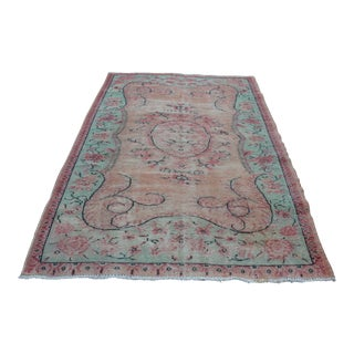 Turkish Overdyed Floral Rug - 5′6″ × 8′8″