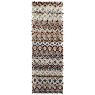 Moroccan Arya Robt Beige/Blue Wool Rug - 2′7″ × 8′2″