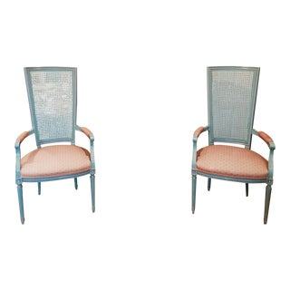 French Country High Back Cane Chairs - A Pair