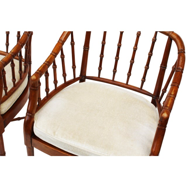 Hekman Faux Bamboo Chippendale Style Armchairs - a Pair - Image 2 of 6