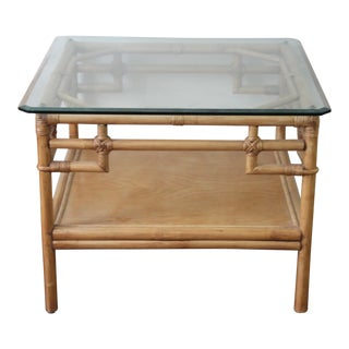 Mid Century Modern McGuire Style Bamboo & Glass Square Table