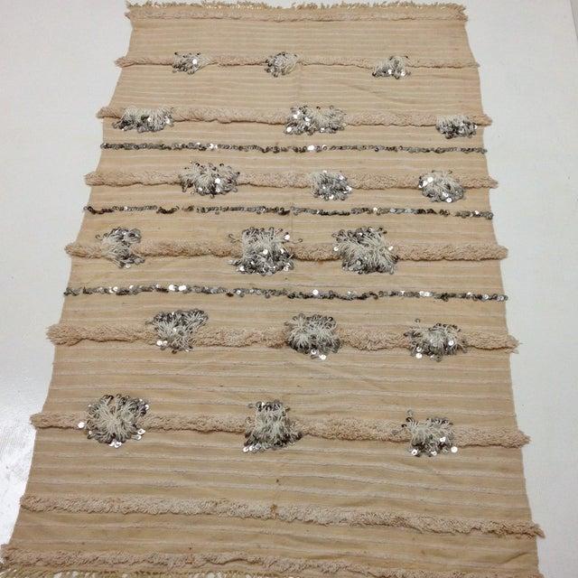 Vintage Moroccan Handira Wedding Blanket - Image 2 of 4