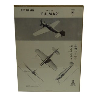 "Vintage WWII Aircraft ""Fairey Fulmar"" Recognition Poster"