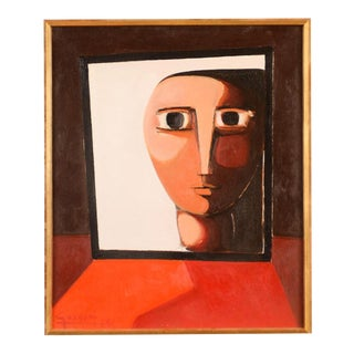 Modernist 'Face by the Window' Oil Painting