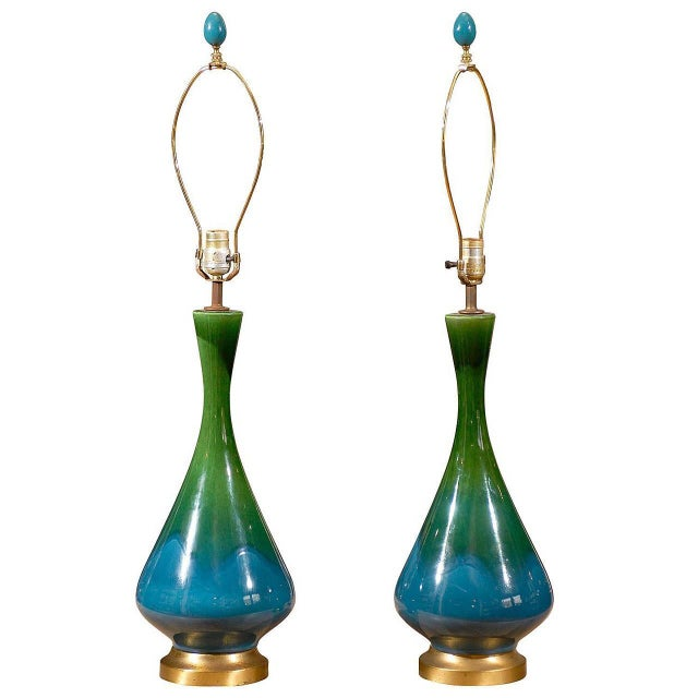 Image of Mid-Century Green and Blue Glazed Lamps - Pair