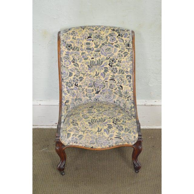 Antique Victorian Walnut Frame Slipper Chair - Image 2 of 11
