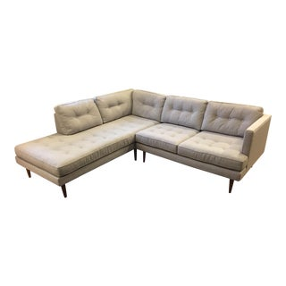 Mid-Century Terminal Chaise Sectional in Feather Gray