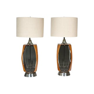 1960s Wood & Smoked Glass Lamps - A Pair