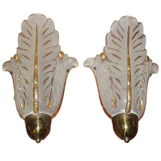 French Art Deco Art Glass Tulip Form Sconces by Ezan - A Pair