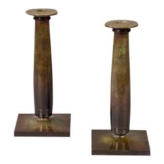 Pair of Just Andersen Art Deco Candlesticks