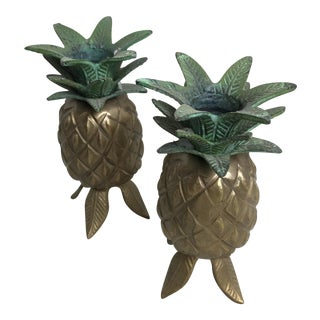 Vintage Mid Century Brass Pineapple Candle Holders - a Pair