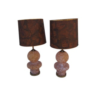 Large Murano Amber Glass Table Lamps - A Pair