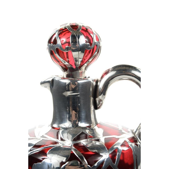 Antique Art Nouveau Silver Overlay Ruby Decanter - Image 7 of 9