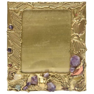 Sculptural & Jeweled Brass/Amethyst, Quartz and Agate Picture Frame/Mirror