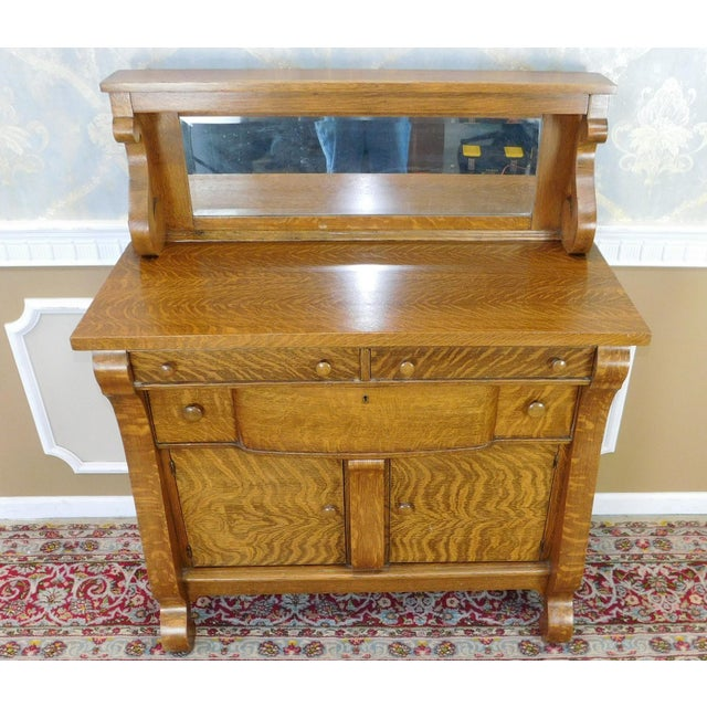 Antique victorian tiger oak empire style sideboard chairish for Sideboard vintage look