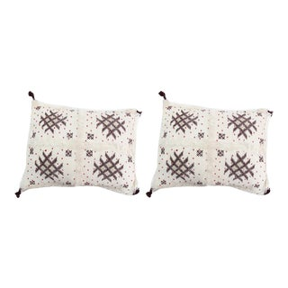 Handmade Moroccan Burgundy & White Wedding Pillows - A Pair