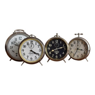 Antique Big Ben Alarm Clocks - Set of 4