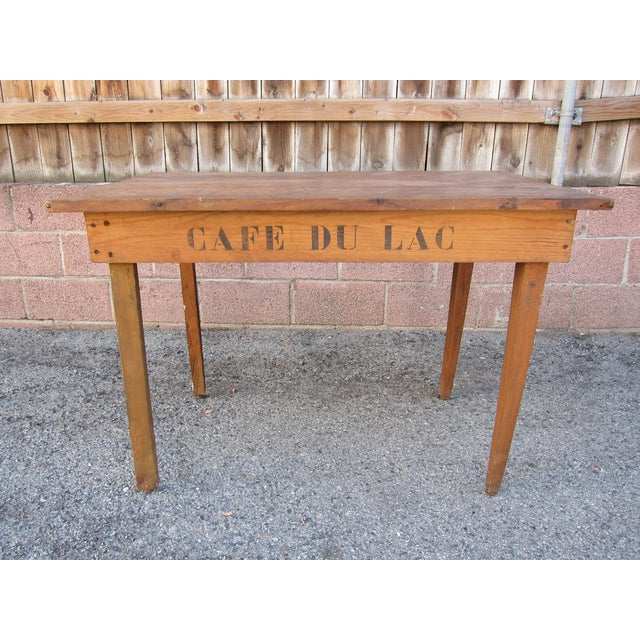 Image of Vintage French 'Cafe Du Lac' Dining/Side Table