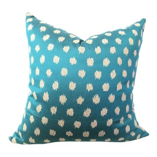 Turquoise Dotted Ikat Pillow