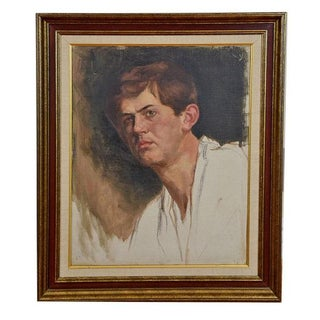 """Young Man"" Antique Painting by Anne Fleckenstein"